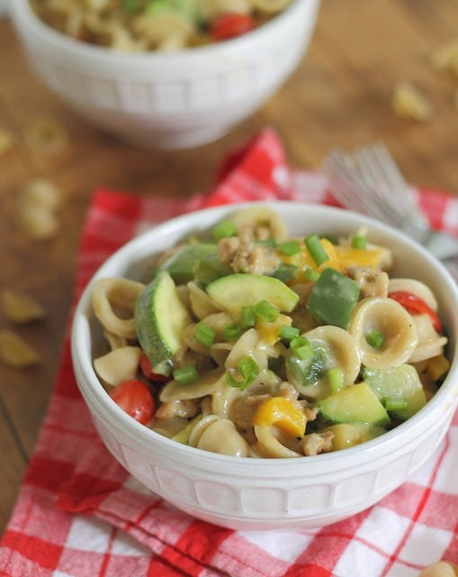 Ceramy sausage mac and cheese with a kick of spice is indulgent but healthy!