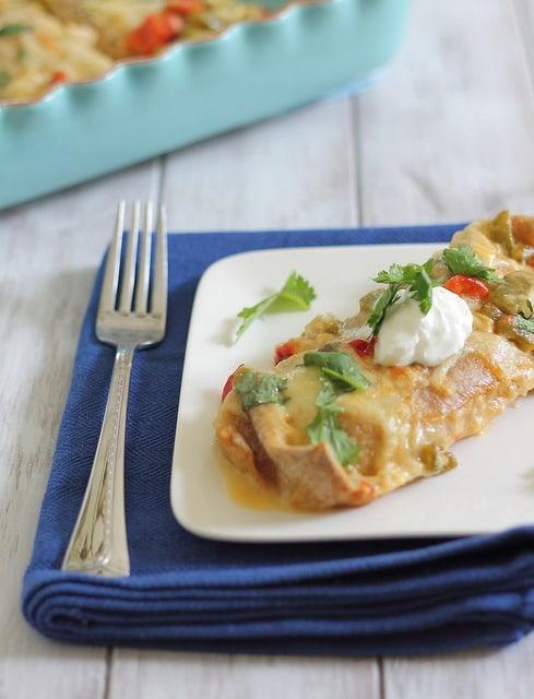 Cheesy white chicken enchiladas