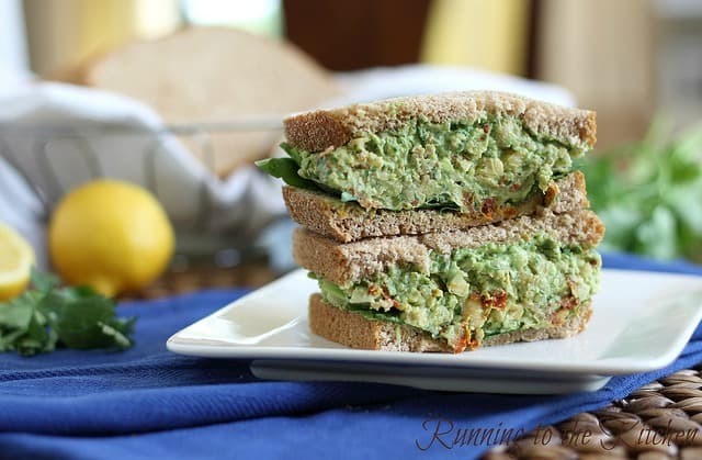This chickpea pesto sandwich is a non-traditional pesto with smashed chickpeas that makes a delicious sandwich filling for an easy vegetarian meal.