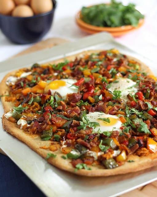 Hearty breakfast pizza