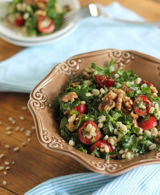 Kale and cherry salad with barley