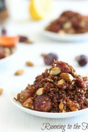 Lemon quinoa with roasted grapes and walnuts