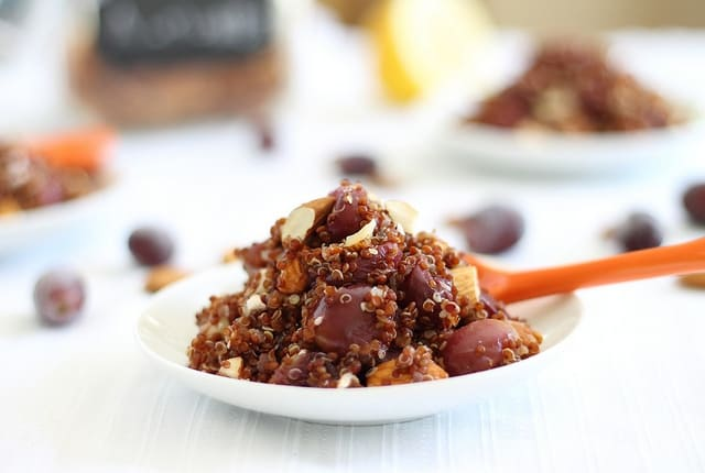Quinoa with roasted grapes and walnuts