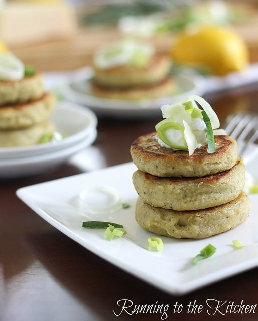 These rosemary leek cannellini cakes make a light stand alone vegetarian meal or a great savory side dish.