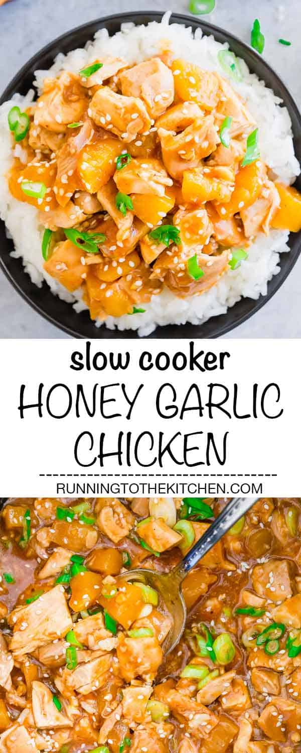 Try this easy recipe for slow cooker honey garlic chicken thighs with a sticky sweet and savory sauce and pineapple for an easy dinner served over rice. #slowcookerchicken #honeygarlicchicken #crockpotchicken