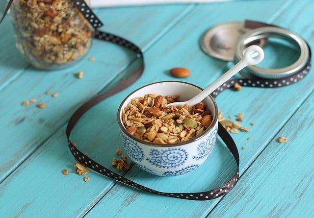 Coconut granola with almonds