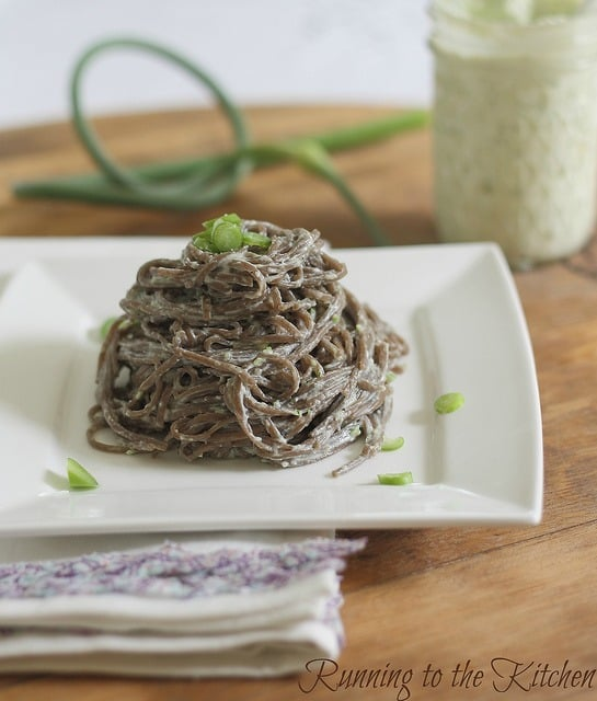 Garlic scape pesto with soba noodles
