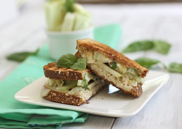Panini with cheddar, chicken and fennel