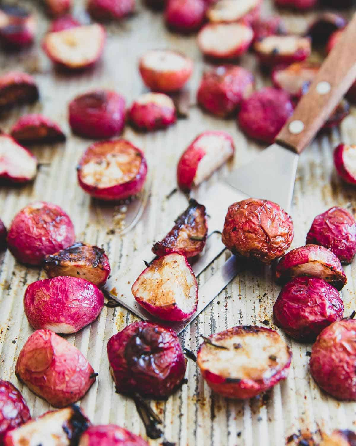This simple roasted radish recipe makes the perfect easy vegetarian side dish for spring.
