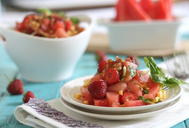 Watermelon bacon salad