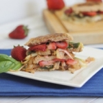Strawberry and brie panini with caramelized onions