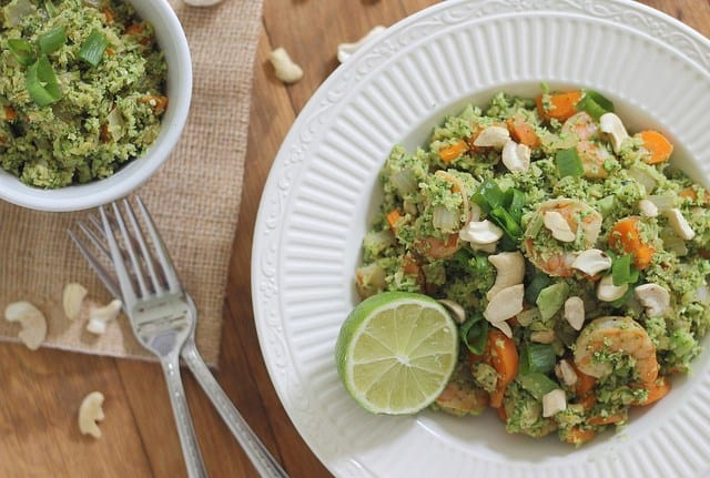Paleo and gluten-free broccoli shrimp fried rice is a healthier alternative to the takeout classic.