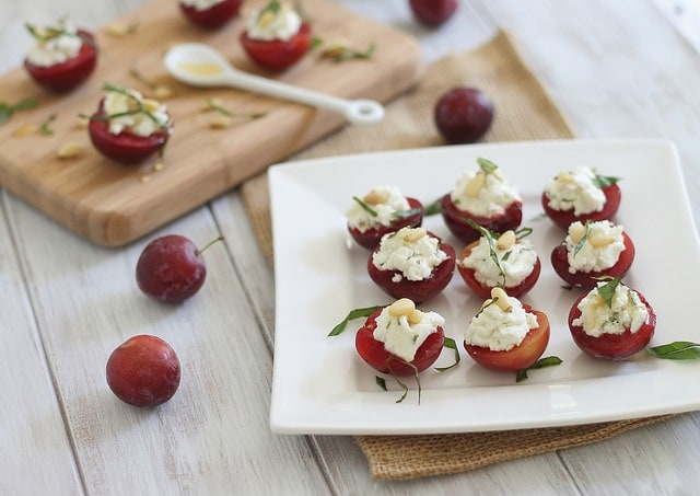 Goat cheese honey stuffed plums