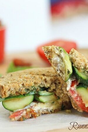 Grilled zucchini goat cheese and pesto panini