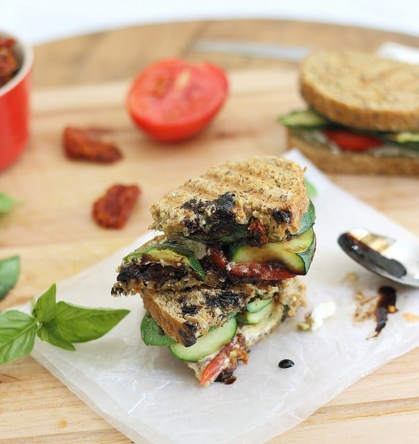 Grilled zucchini goat cheese panini