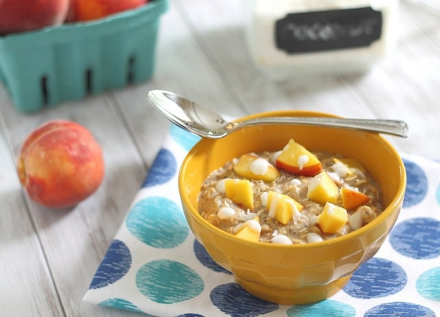 Fresh ripe peaches and coconut milk make this a healthier version of the classic peaches and cream oatmeal.