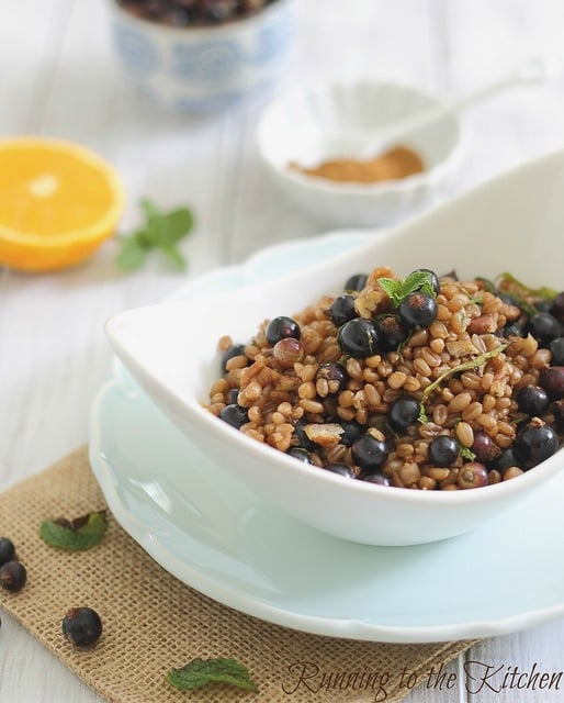 Wheatberry currant salad