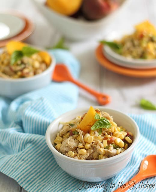 honey mustard chicken salad with corn and peaches