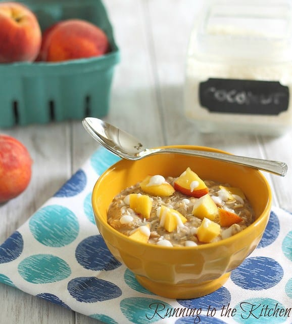 Peaches and coconut cream oats are a healthier coconut twist on the traditional peaches 'n cream oatmeal breakfast combination.