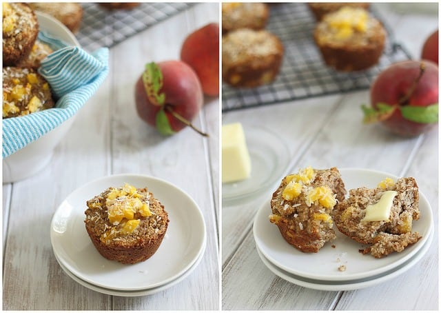 Almond flour muffins with peach and coconut