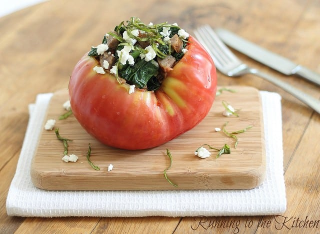 Kale and sausage stuffed tomato