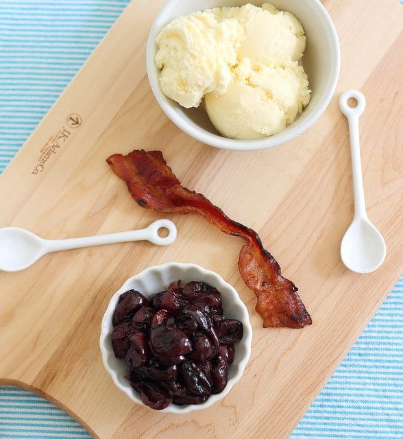 Roasted cherry bacon ice cream