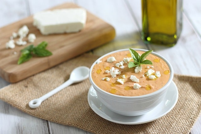 Roasted red pepper dip with feta