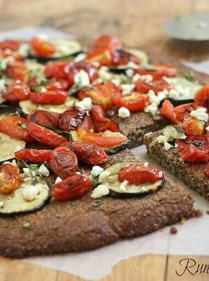 Roasted tomato and zucchini paleo pizza