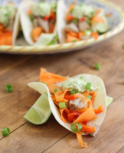 Soy tuna tacos with spicy avocado cream