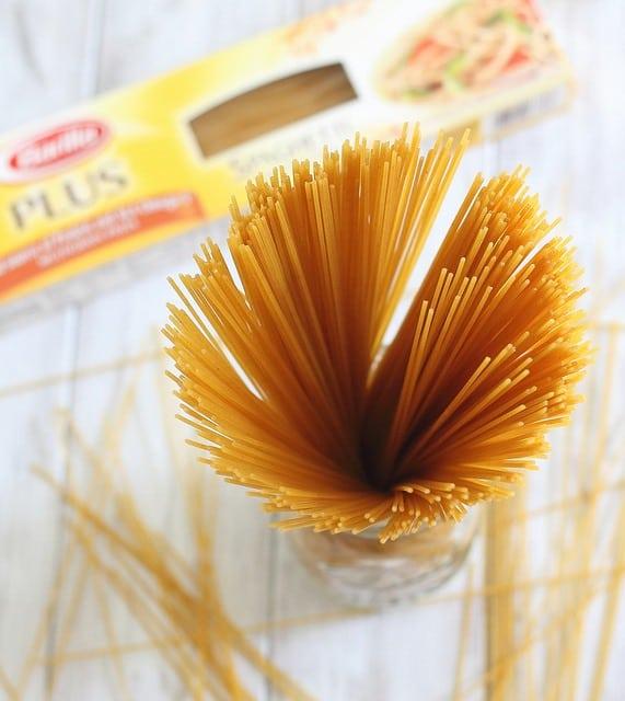 Spaghetti with roasted tomato peach sauce