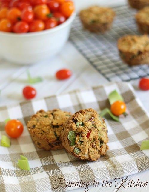 Sun dried tomato leek muffins
