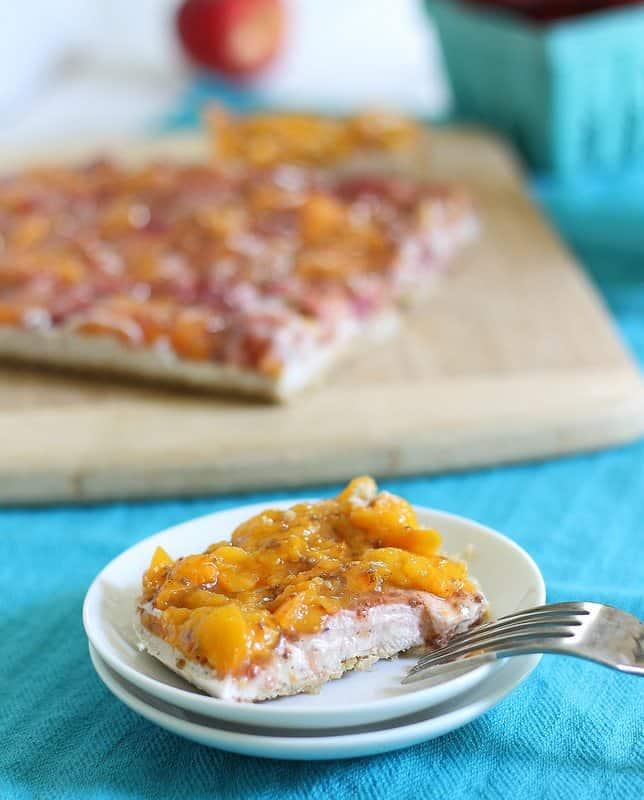 Walnut crusted peach tart