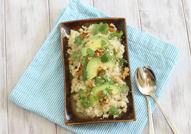 cauliflower couscous with avocado