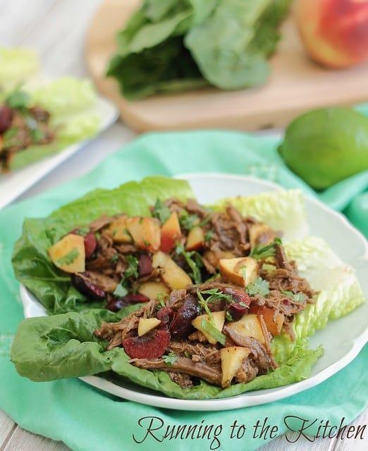 Carnitas lettuce wraps with cherry peach salsa