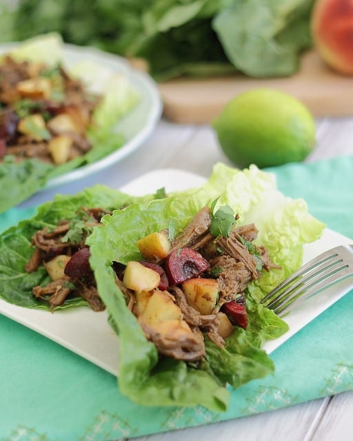 Carnitas wraps with cherry peach salsa