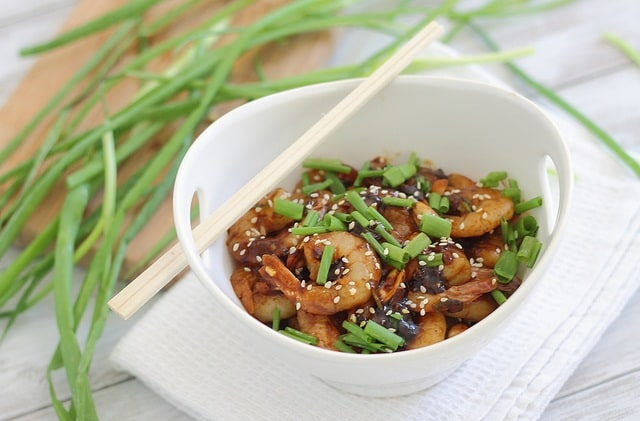Easy kung pao shrimp is the perfect simple dinner when you're craving takeout food.