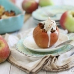 Baklava stuffed apples with coconut cream