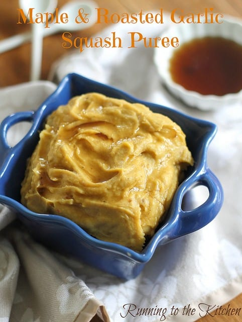 Maple and roasted garlic squash puree