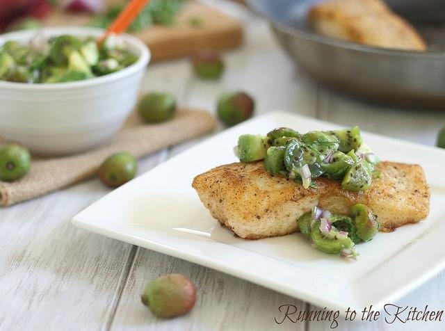 Pan fried halibut with kiwi berry salsa