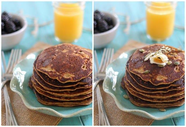 Paleo pumpkin pancakes that taste just like a regular pancake, no eggy souffle pancake texture here!