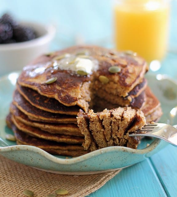 Try these fluffy pumpkin paleo pancakes when you're craving pancakes for breakfast but want to ditch the grains and dairy!