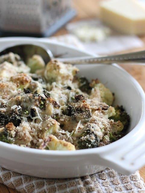 Broccoli cauliflower parmesan gratin