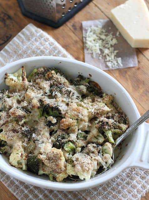 Roasted broccoli and cauliflower parmesan gratin