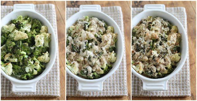 Roasted broccoli cauliflower gratin with parmesan