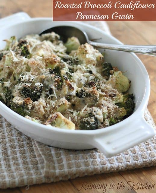 Roasted broccoli cauliflower parmesan gratin