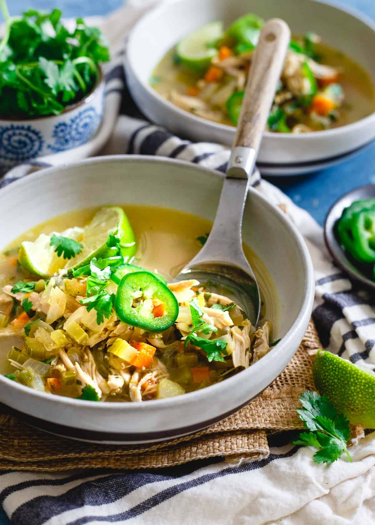 This spicy chicken lime soup is my go-to winter soup and perfect if you're feeling under the weather.