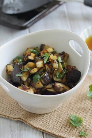 Sweet and crunchy maple orange roasted eggplant