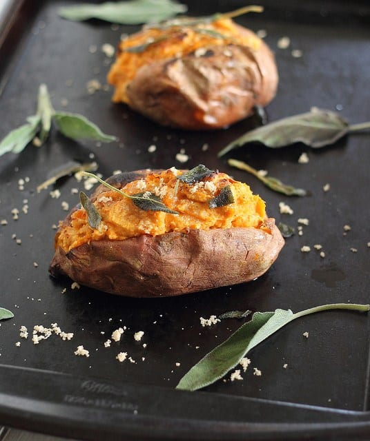 Twice Baked Sweet Potatoes with Cinnamon Cashew Cream