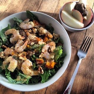 kale salad with grilled shrimp