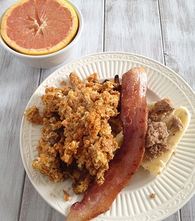 shredded sweet potato scramble
